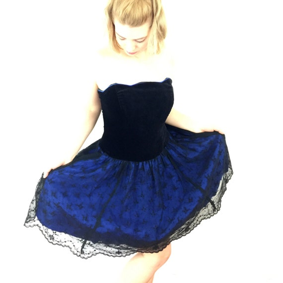 1980s dress vintage prom goth girl cocktail dress velvet corset vintage lace skirt electric blue Laura Ashley UK 8 US 4