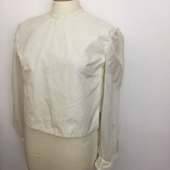 Vintage cream blouse gingham shell top nylon Mod shirt 1950s 1960s off white prim UK 14 handmade scooter girl 50s style