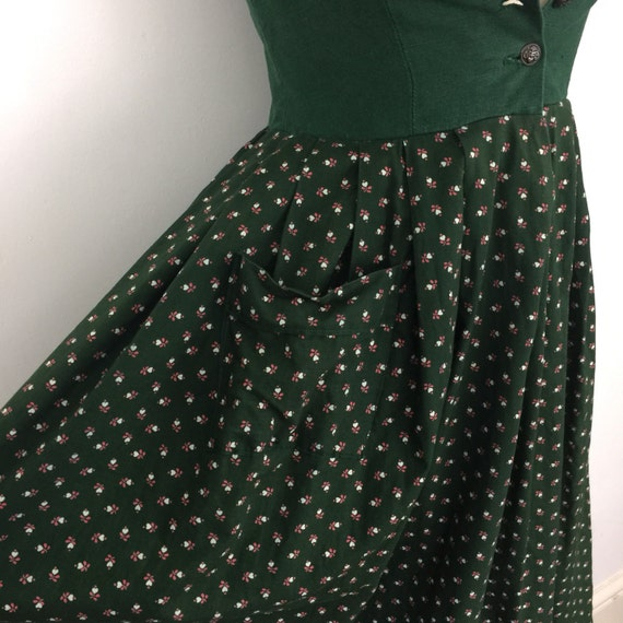 Vintage rose print dress traditional dirndl classic Austrian forest green corset Tivolian Steampunk Cosplay LARP UK 6 8 christmas