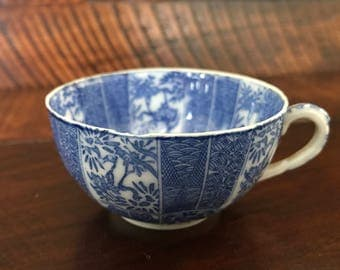 Vintage Thin Translucent Porcelain Tea Cup, double-sided transfer-decorated floral print – blue/white (japan)