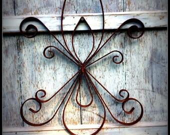Wrought Iron Double Fleur de lis Wall Art.  Large scrolled metal.  Double Fleur de lis