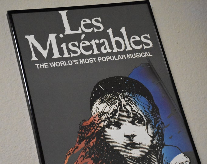 Featured listing image: Les Miserables Vintage 1990 Authentic Imperial Theatre Poster Window Card in black NEW Playbill 14 x 22 Frame