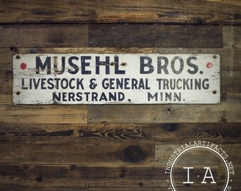 Vintage Musehl Bros Livestock and General Trucking Wooden Advertising Sign
