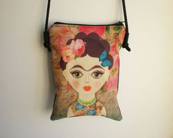 Shoulder bag, crossbody bag, printed bag, little bag, Frida Kahlo, Frida Kahlo bag