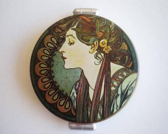 Pocket mirror - Alphonse Mucha art - Hand mirror - Alphonse Mucha - Woman accessories