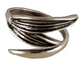 Ancient Greek Olive Leaves Oxidized Sterling Silver Adjustable Ring