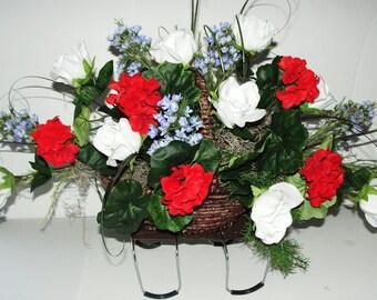 Red Geraniums White Roses Blue Silk Flowers Patriotic Cemetery Tombstone Saddle Flower Basket Americana Graveyard Custom Orders Welcome