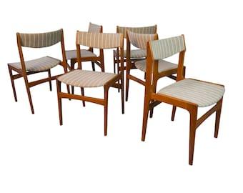 6 Teak Wool Dining Chairs Mid Century Danish Modern