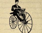 Printable Image Antique Bicyclist Bicycle Rider Velocipedes Graphic Download Digital Vintage Clip Art Jpg Png Eps  HQ 300dpi No.2981
