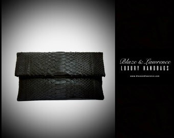 Ultimate Luxury Gift Or Accessory/Hollywood Genuine Python Leather Clutch/Genuine Snakeskin Leather Purse Black Handbag/2017LuxuryCollection