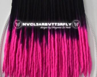 "UV Dreads - 10/20/30/40DE ""Cyber Princess"" Extensions 18""-20"" (Total Length = 36""- 40"") Pink Fuchsia Charcoal Black Dreadlocks"