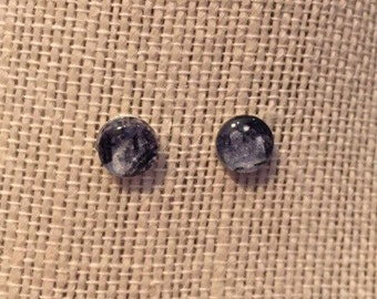 8mm Glass Black Marble Stud Earrings