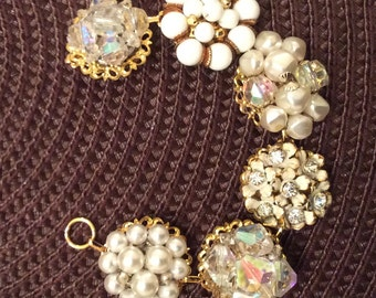 Elegant, Sparkling Upcycled Rhinestone and Pearl Bracelet