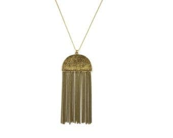 Taji Brass Long Tassel Chain Bohemian Necklace