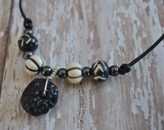Men's Genuine Tektite Meteorite leather necklace simple, boho, minimalist, geekery