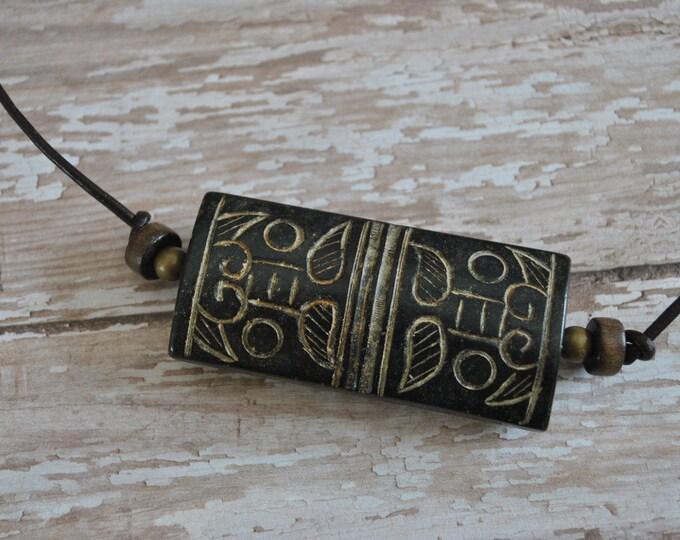Antiqued Jade Men's Necklace, masculine necklace, rugged carved jade necklace