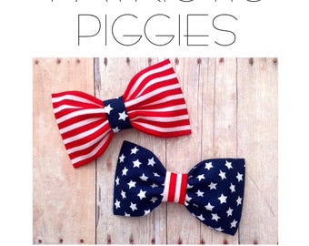 Patriotic Fourth of July pigtail bows usa