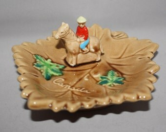 Vintage Canada Maple Leaf with Mounted Police on Horse Souvenir Dish- 3D