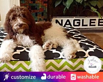 Fun Modern Dog Bed with Insert | You choose fabrics - Large | Memory Foam, Fiberfill, High-Density Foam - Washable