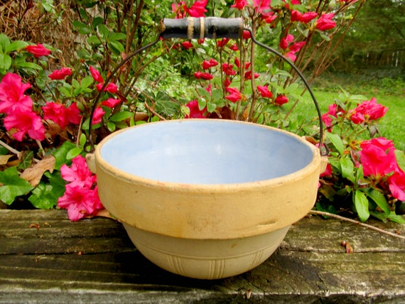 Antique Roseville Progressive Pottery Bowl, Mixing Bowl, Twentieth Century German Acid Proof Bowl with Wire Wood Handle, Very Old, Rare