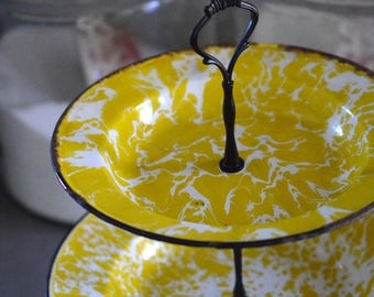 Three Tiered Tray Vintage Enamelware Yellow Swirl