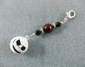 Handmade bead zipper charm with Jack Skellington jingle bell