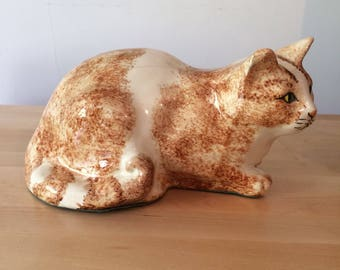 Vintage ceramic large ginger cat figurine statue