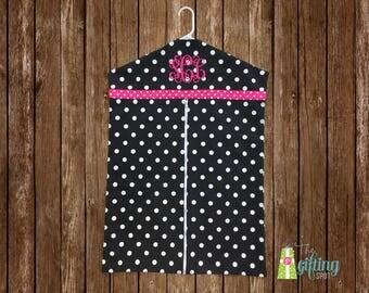 Monogrammed Garment Bag, Personalized Polka Dot Garment Bag, Hanging Garment Bag, Clothing Bag, Zip Up Bag, Hanging Clothes Bag, Travel Bag