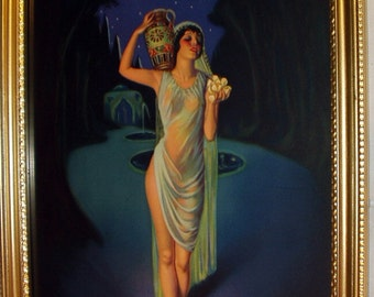 Egyptian Cleopatra Spirit of the Nile Flapper Girl Artist G C Orde Art Deco Pin Up Stunning Goddess Antique Gold Wood Frame Decor Picture