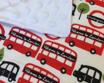 Baby Blanket - Receiving Blanket - Toddler Blanket - Minky and Flannel - London Bus
