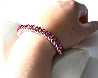 Chainmail bracelet, red pink and white Valentine handmade chain mail dragon jewelry, bright anodized aluminum chainmaille made by misome
