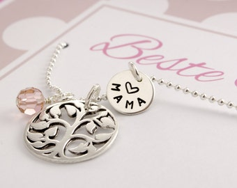 Name necklace with tree of life and engraving, best MOM