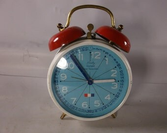 Alarm Clock Working Vintage Mid Century Modern Bradley Time Teaching Clock Small Travel Wind Up .epsteam