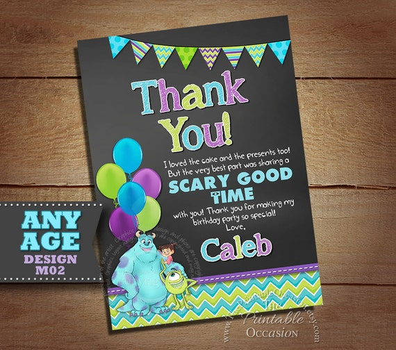 Monster Inc Thank You Card Monster Inc Photo Thank You Card