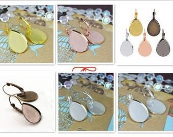 French Earring Cabochon Kits - 18x25mm tear french earring base - drop earring blanks - 18x25mm Tear Drop Glass Cabochon -Bezel earring tray