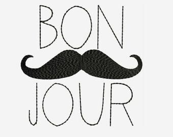 Bon Jour - Hello!, Hi! Machine Embroidery Designs - Instant Download Filled Stitches Design 219
