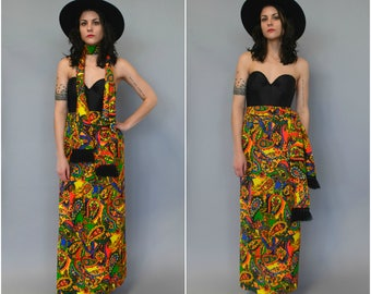 1960s 70s high waisted psychadelic maxi skirt with matching fringe belt