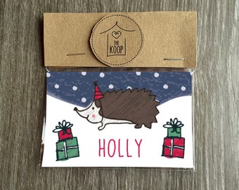 Christmas Hedgehog Place Cards - Pack of 6