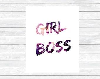Water Color Girlboss Print  - Boss Lady Print - Girlboss Printable - Office Printables - Desk Decor - Office decor - motivation wall art