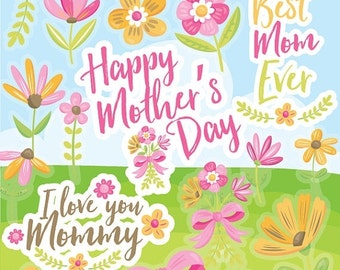 80% OFF SALE Mother's day clipart commercial use, flowers vector graphics, spring flowers digital clip art, mother digital images - CL968