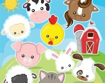 80% OFF SALE Farm animal faces clipart commercial use, barn clipart vector graphics, animal faces clip art, digital images  - CL1000
