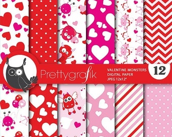 80% OFF SALE Valentine Monsters digital paper, commercial use, valentine scrapbook papers, background papers, love monsters - PS671