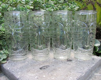 Libby Clear Glass Tiki Totem Tall Tumbler Glass 20oz set of 4