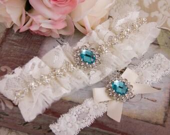Lace Wedding Garter Set, Aqua Blue Crystal Bridal Garter Set, Tulle and Lace Garter, Off White Lace Garter, Something Blue