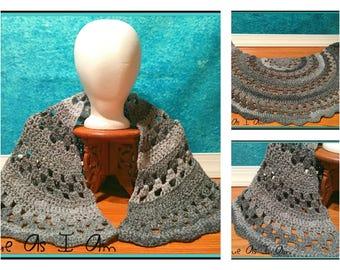 Crochet Shades of Gray Half Circle Shawl - Adult