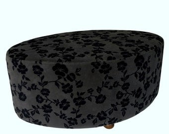 Stool upholstered oval footstool, stool, Padded stool, oval shaped stool, mass: 80 x 50 cm height 43 cm