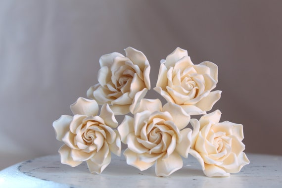 Gardenia flower pin. Five pin white, light ivory or ivory color Gardenia hairstyles for brides , bridesmaids.