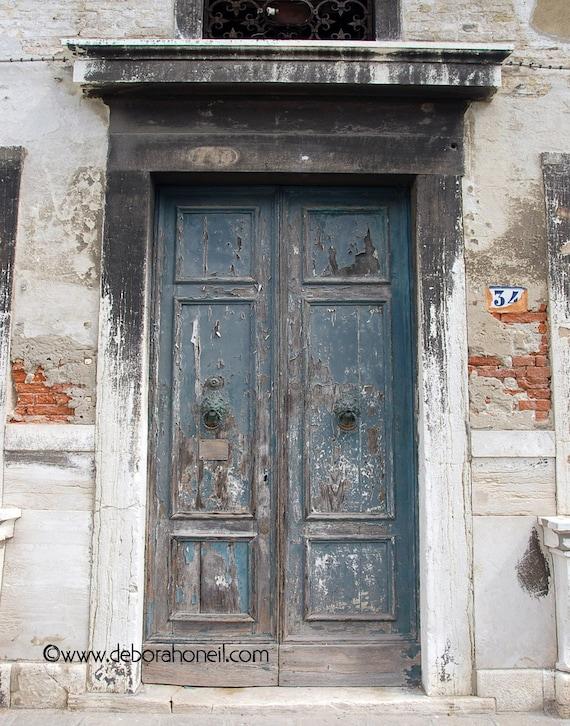 """Doors Photography - Venice Italy old rustic green antique double door #34 """"Venice Green Door #34"""""""