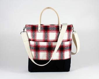 Red Crossbody Bag,  Plaid Purse, Waxed Canvas Crossbody Bag, Small Crossbody Bag, Cross Body Bag, Crossbody Handbags, Waxed Canvas Bag