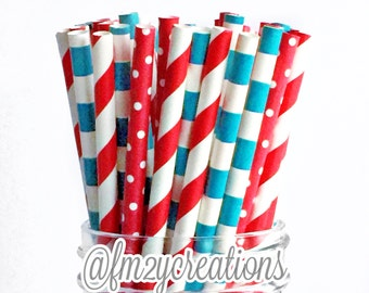 Dr Seuss Party | Dr Seuss Baby Shower| Paper Straws | Dr Seuss Birthday Party Decor | Cat and the Hat Birthday